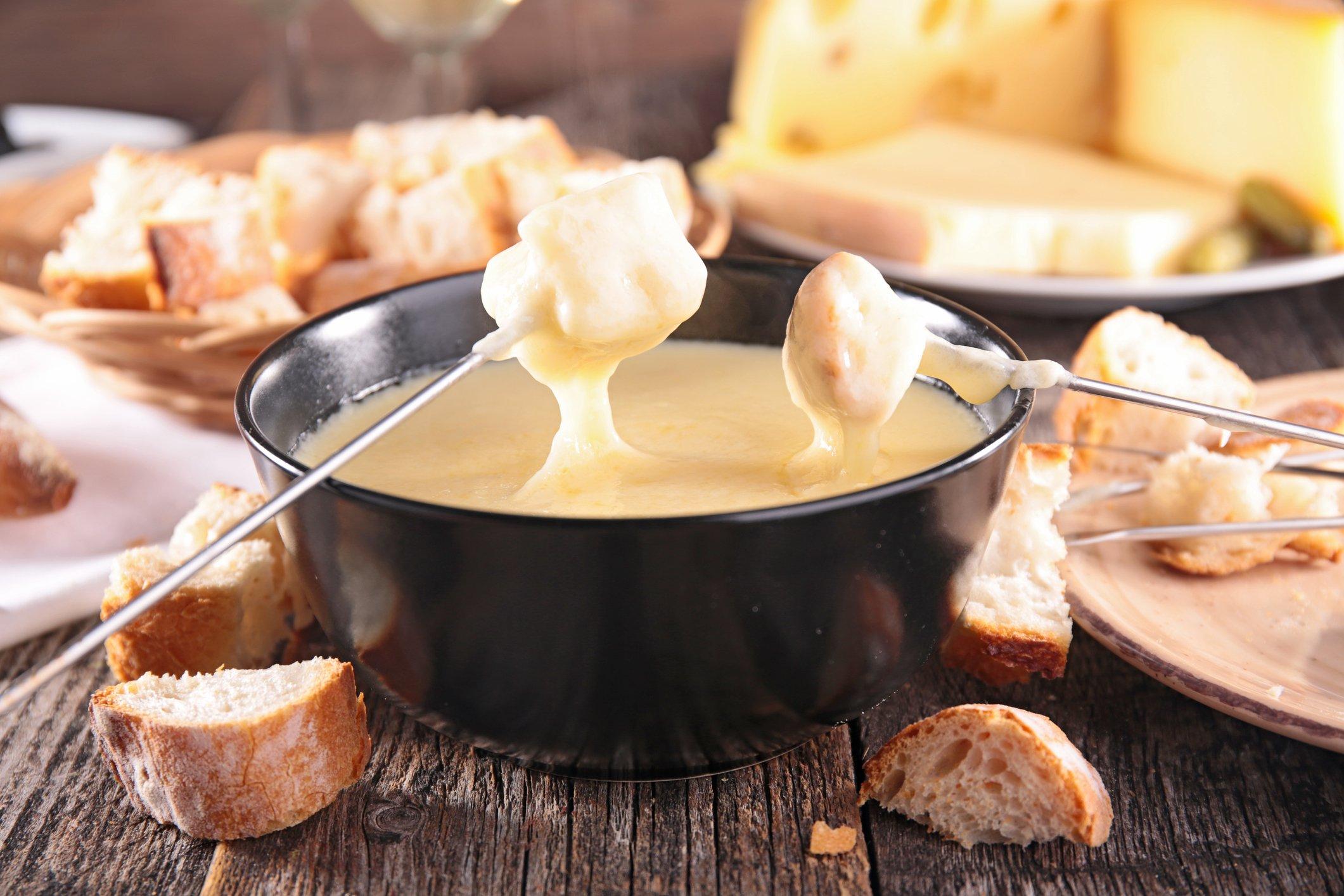 Vegetarisches Weihnachtsessen: Käse-Fondue