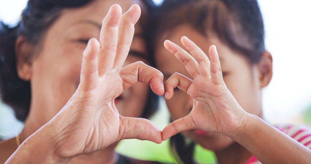 Kleiner finger und zeigefinger ausgestreckt