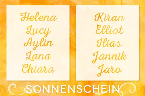 Mädchen deutsche namen 250 Mädchennamen