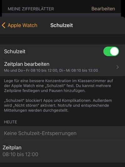 Schulzeit Modus der Apple Watch