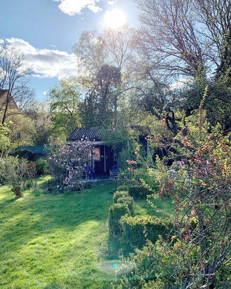 Ein echter Rückzugsort nach dem Feierabend: Die Gartenlaube. Durch unsere Trenntoilette auch ein Ort, an dem man sich endlich gerne länger aufhält. Quelle: Eigene Aufnahme