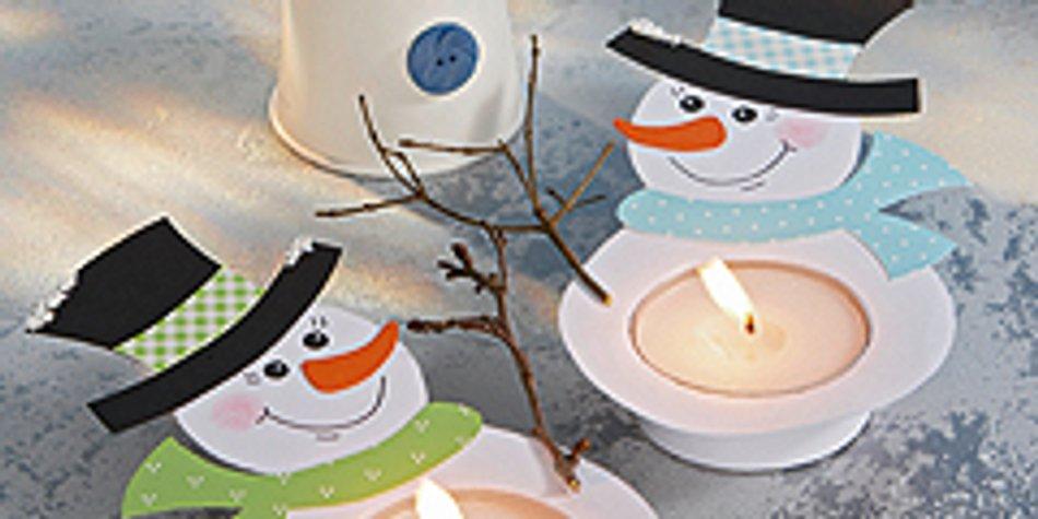 Ein Teelicht Schneemann Für Weihnachten Familiede
