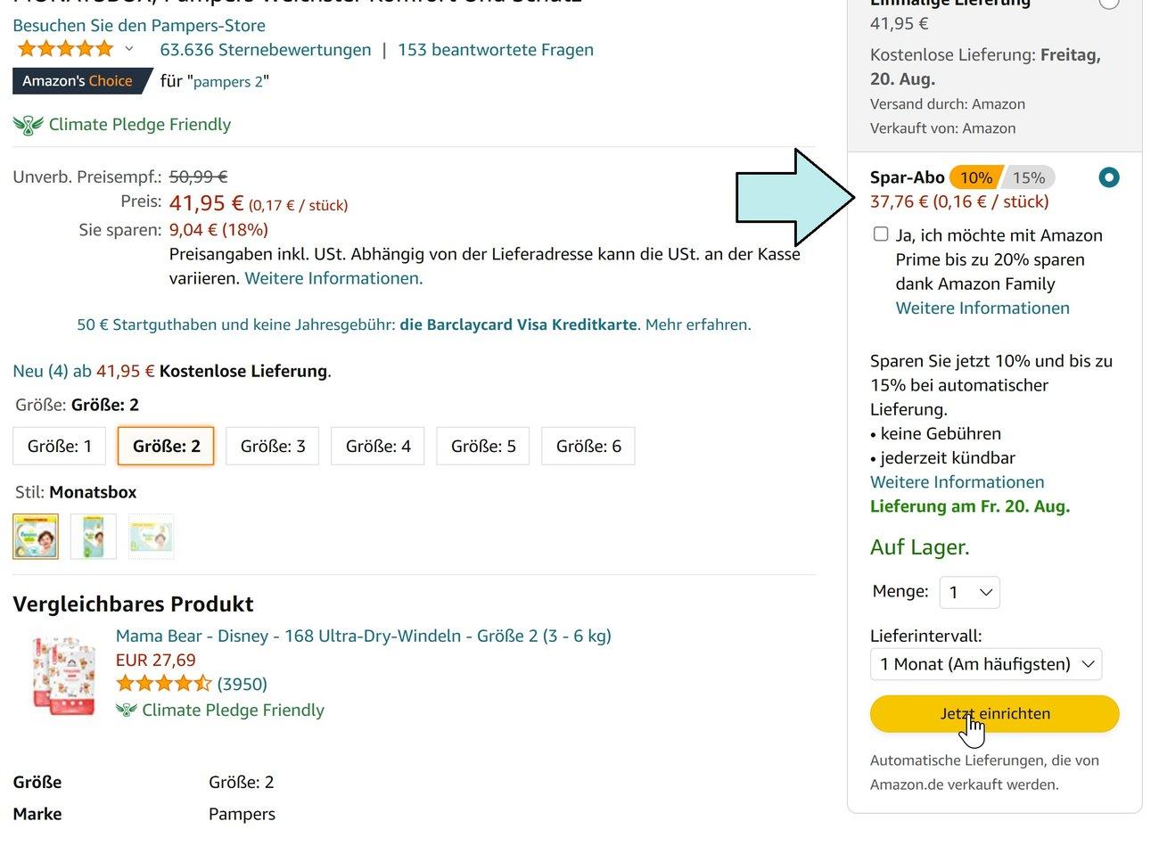 Pampers Sparabo Amazon Screenshot